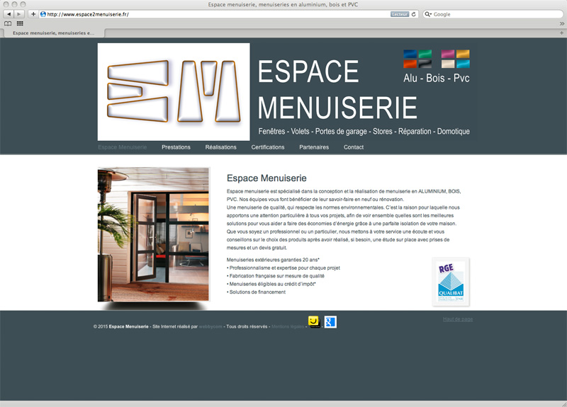 Site internet Espace Menuiserie