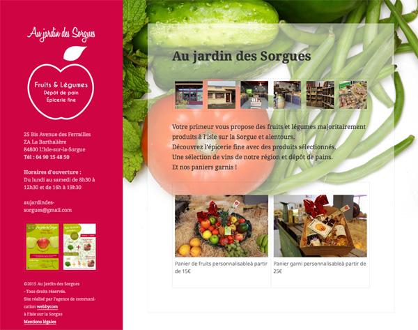 Page web Au Jardin des Sorgues