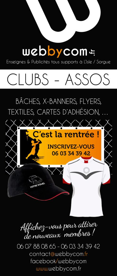 Bache, textile, flyers, cartes d'adhésion pour clubs et associations par Webbycom, communication tous supports à L'Isle sur la Sorgue